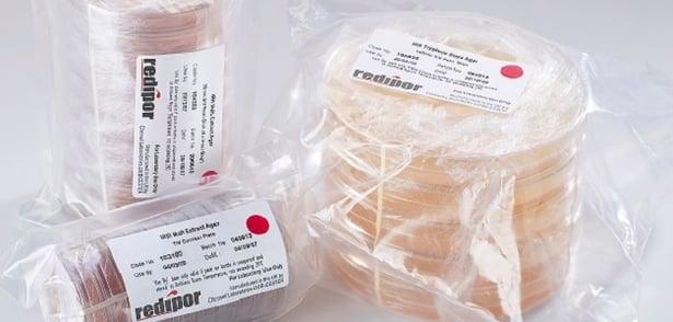 Redipor irradiated agar contact and settle plates, dehydration of agar, desiccation of agar